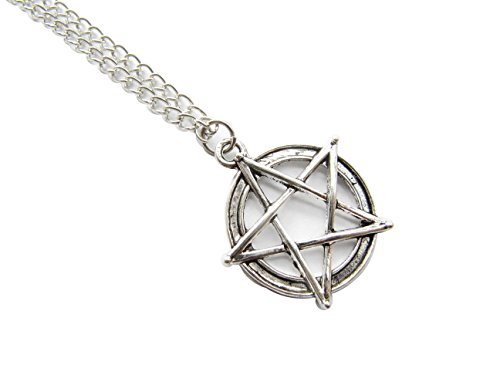 Ancient Silver Pentagram Necklace Supernatural Pentacle Pendant Protection Amulet Wiccan Jewelry