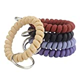 BIHRTC Pack of 5 Mix Color Plastic Coil Wrist Coil Stretch Wristband Elastic Stretchable Spiral Bracelet Key Ring Key Chain Key Hook Key Holder for Gym Pool ID Badge and Outdoor Sports
