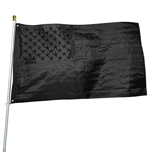 Black American Flag 3x5 ft: Heavy Duty US Flag Made from Nylon  Embroidered Stars  Sewn Stripes  UV Protection Perfect for Outdoors Not Include Pole