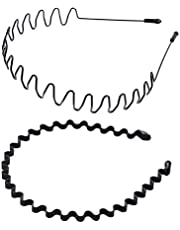 shefun メンズ カチューシャ スプリング ヘアバンド 鉄 波型 くし付き 滑り止め 痛くない 黒 シンプル 前髪 髪飾り 2本セット JP171