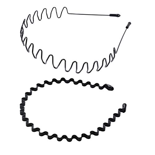 shefun メンズ カチューシャ スプリング ヘアバンド 鉄 波型 くし付き 滑り止め 痛くない 黒 シンプル 前髪 髪飾り 2本セット JP171 (B)