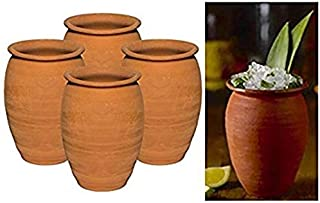 Made in Mexico Authentic Mexican Cantaritos Jarritos de Barro for Hot or Cold Beverages Drinks Natural Clay Mugs Cups, Set of 4