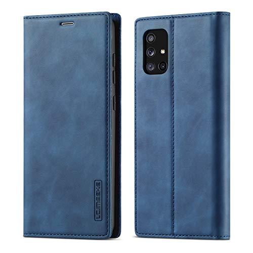 EZYUTAK Vintage Lederhüllee für Samsung Galaxy A51, Magnetverschluss Premium PU Leder Flip Case mit Kartenfache Brieftasche Standfuntion Stoßfeste Weiche TPU Retro Ledertasche - Dunkel Blau