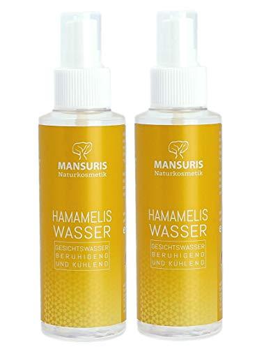 Bio Hamameliswasser 100% 2er Set - Gesichtswasser Spray für Gesicht, Haut & Haare - Naturkosmetik gegen unreine, trockene & empfindliche Haut - Ideal bei Akne & Neurodermitis (alkoholfrei), 2 x 125ml