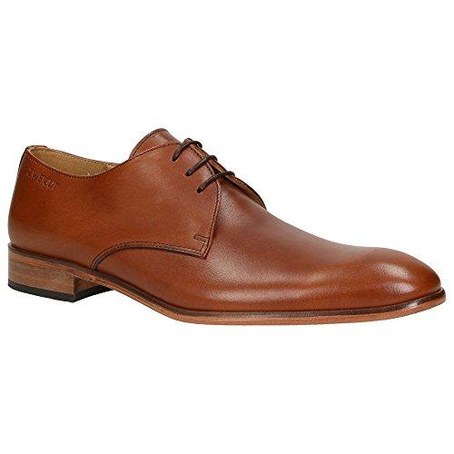 Zweigut® -Hamburg- smuck #250 Herren Business Schuhe Vollleder Derby Schnürschuhe, Schuhgröße:43, Farbe:Cognac