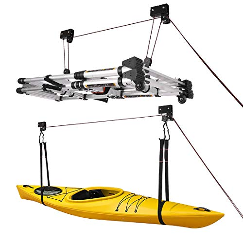 VIVOHOME Heavy Duty Ceiling Mount Bicycle Kayak Canoe Garage Storage Rack Lift Hoists Pulley System...