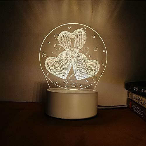 Kreative Nachtlicht 3D dreidimensionale Schriftzug DIY Persönlichkeit Design Tischlampe Geschenk praktisch sinnvoll Ich Liebe Dich DREI Farbe 3W