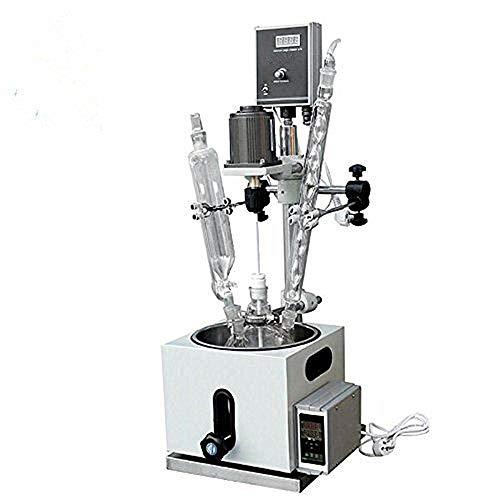 MXBAOHENG Reactor de vidrio de 2L recipiente de reacción de una sola cubierta con condensador y baño de agua de calefacción SUS304 (220V)
