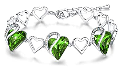 """Leafael """"Infinity Love Heart Bracelet Made with Swarovski Crystals Peridot Light Green August Birthstone Jewelry Gifts for Women, Silver-Tone, 7""""+2"""""""