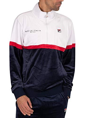 Fila Men's Kane Velour 1/2 Zip Track Jacket, Blue, S