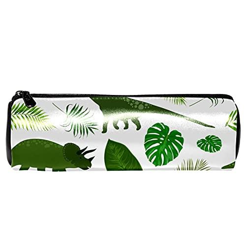 Estuche para lápices de dinosaurios y hojas tropicales, bolsa de almacenamiento, organizador de cosméticos para la escuela, adolescentes, niñas, niños, hombres y mujeres