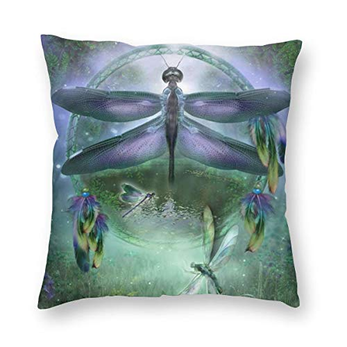 Yaateeh Dreamcatcher Dragonfly Decorative Throw Pillow Covers 18x18 Inch Pillows Case Square Cushion Cover Cases Pillowcase with Zipper Sofa Home Decor for Couch Bed Patio Car