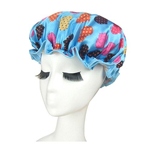 Bonnet de douche de qualité doubles couches Cap étanche Bath coeur, bleu