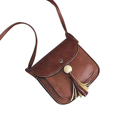 Longra Pelle modo delle donne nappe borsa a tracolla a spalla (Grigio)