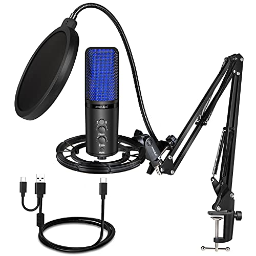 USB Podcast Microphone Kit for Streaming Recording with Boom Arm PC Microphone Gaming Professional Condenser Studio Mic for Computer,Mac,Windows,PS4,Vocals,YouTube Tow Pickup Patterns with USB A or C