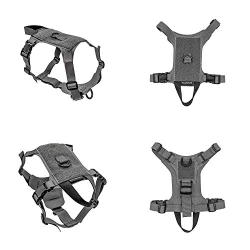 Lightweight Ventilated Tactical Pet Harness Ergonomic Fit Working Training Military Service Harness Easy Control for Small Medium Dogs or Cats (XXS, Wolf Grey)