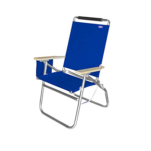 Copa Big Tycoon 4 Position Lightweight and Portable Folding Aluminum Beach Lounge Chair, Blue