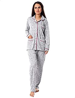 Kady Plain Front Pockets Long Sleeves Buttoned Top with Pants Pajama Set for Women