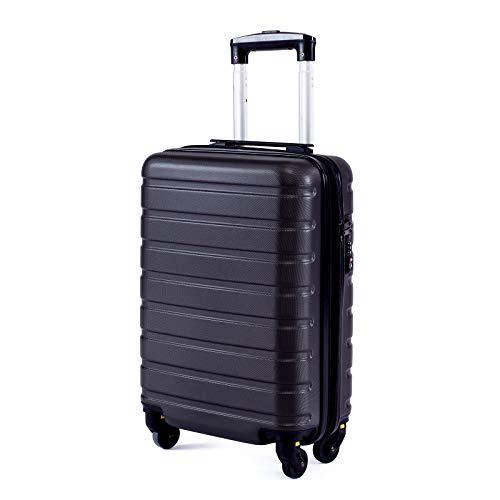 Toctoto Bagaglio a Mano Espandibile con Lucchetto TSA (18' 38LT 52x33x20cm), Adatto Per Voli Low Cost Bagaglio Da Cabina Ryanair, Vueling, Wizz Air (18'(52cm-38L)-Nero)