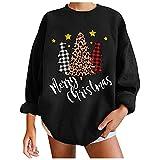 Suéter de moda de Navidad con estampado casual suelto y cuello...