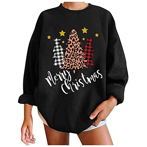 Suéter de moda de Navidad con estampado casual suelto y cuello redondo para mujer, #7 Negro, L