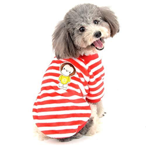 Ranphy Kleiner Hund Pullover Sweater Samt Pullover Welpen Kleidung Weich Sweatshirt Mädchen Junge Winter Warm Hoodie Streifen Jacke für Chihuahua Spielzeug Pudel Katze Rot XXL