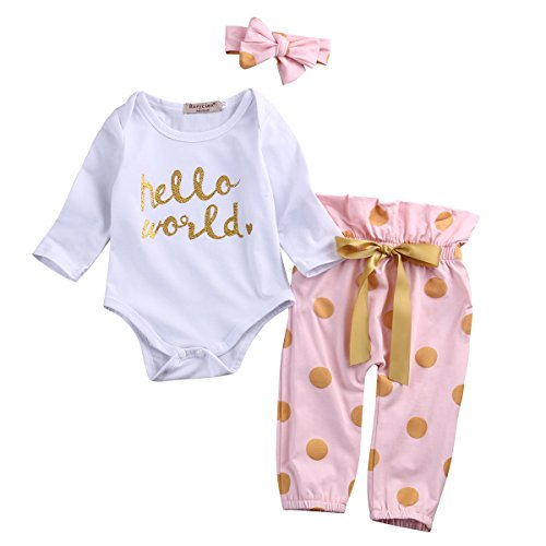3Pcs Infant Newborn Baby Girls Hello World Romper Tops+Pants Clothes Outfit Sets (0-6 Months, A-White)