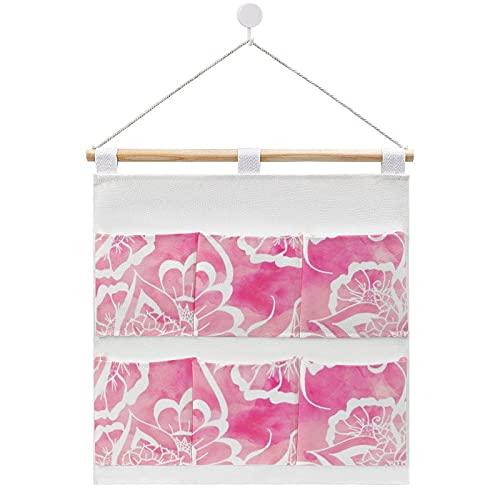 Bolsa de almacenamiento para colgar en la pared, moderna, bohemio, rosa, acuarela, floral, color blanco, mandala en la puerta y armario con 6 bolsillos para la familia, baño, dormitorio, cocina