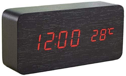 ZJZ Digitale wekker van hout, 3 helderheidsinstellingen, geen tikken, led-temperatuurweergave, werkt op USB/batterijen, voor kantoor thuis
