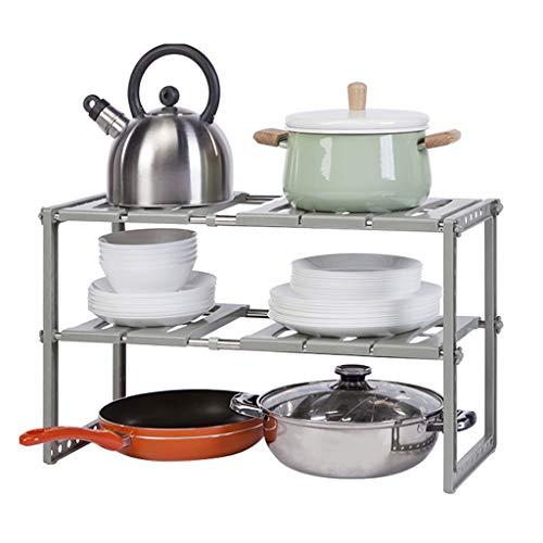Soporte para microondas/Estante de Cocina Ampliable bajo el fregadero Organizador - 2 Tier bastidor multifuncional de almacenamiento con suelos intermedios de tubos de acero for la cocina, baño y jard