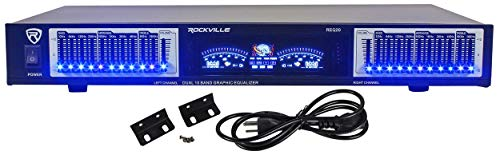 "Rockville REQ20 19"" Rack Mount Pro Dual 10 Band Graphic Equalizer EQ w/VU Meters"