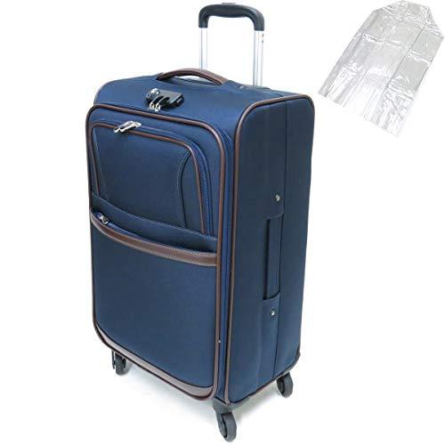 [セット品] (ビバーシェ) Vivache SP-R2-M ソフトキャリーケース 3.5kg・50L 空港受託手荷物無料サイズ 縦型 4輪キャスター・(レジェンドウオーカー) 9095 透明スーツケースカバー 【合計2点セット】 (ネイビー)