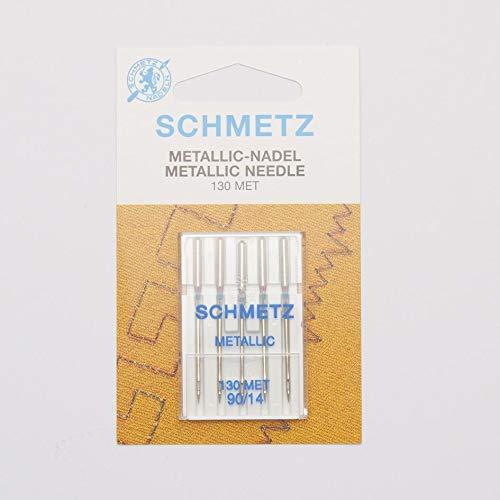 SCHMETZ Nähmaschinennadeln 130 MET | 5 Metallic-Nadeln | Nadeldicke: 90/14 | geeignet für alle gängige Haushalts-Nähmaschinen