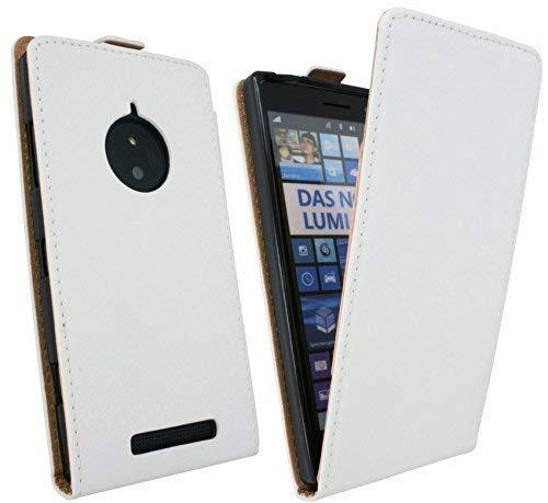 ENERGMiX Handytasche Flip Style kompatibel mit Nokia Lumia 830 in Weiß Klapptasche Hülle