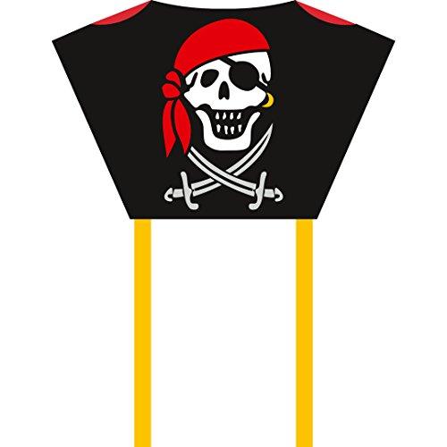 HQ100083 -Sleddy Jolly Roger Kinderdrachen Einleiner, ab 5 Jahren, 50x76cm und 1.9m Drachenschwanz, inkl. 17kp Polyesterschnur 40m auf Spule, 2-6 Beaufort