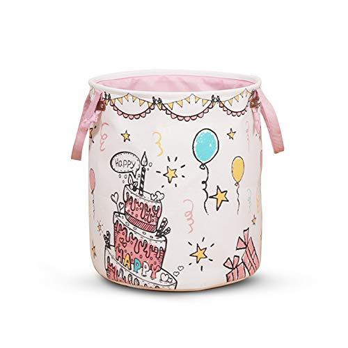 Dzmuero Cesta de lavandería grande,bolsa de lavandería plegable,Cesta de almacenamiento de feliz cumpleaños,Cesto para Guardar Ropa Sucia Plegable,Cesta Redonda de Almacenamiento de lavandería(Rosa)