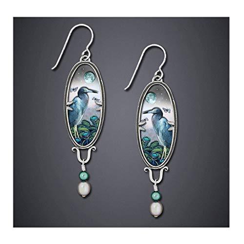 Pendientes de pájaros de la vendimia del palacio - un par de flores Azul Heron Exquisito Patrón Pendientes - Pendiente de la perla de zafiro Pendiente para las mujeres Pendientes de animales coloridos