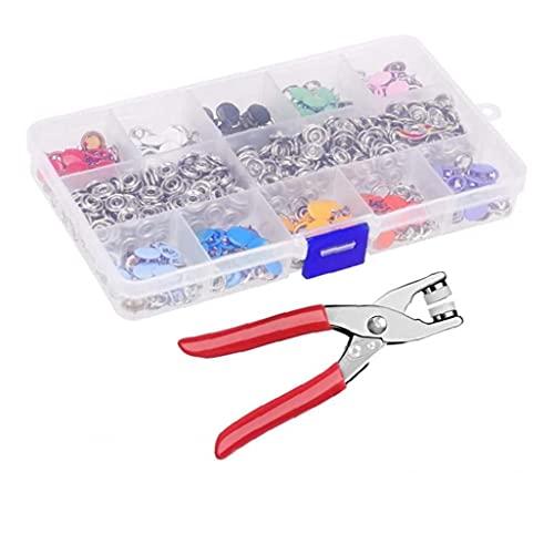 Kacniohen Ojal Tool Kit, Sujetador rápido de la Set, el botón de Ojos Color Hueco Cinco Prong Snap botón de configuración para el bebé de Costura de Ropa para niños y la fabricación Artesanal