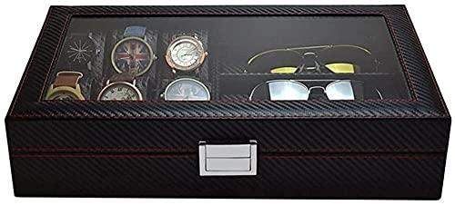 T.T-Q Caja de Reloj de Fibra de Carbono de 6 + 3 dígitos Cajas para Relojes Caja de Gafas Gafas de Sol Caja de Almacenamiento de Gafas de Sol Regalo de cumpleaños 35,5 * 21,2 * 8 cm
