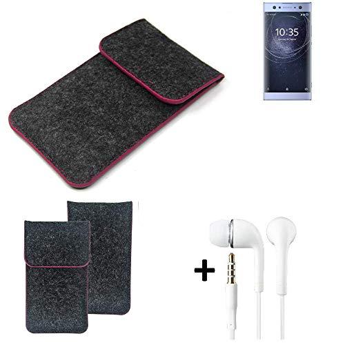 K-S-Trade Filz Schutz Hülle Für Sony Xperia XA2 Ultra Dual-SIM Schutzhülle Filztasche Pouch Tasche Handyhülle Filzhülle Dunkelgrau Rosa Rand + Kopfhörer