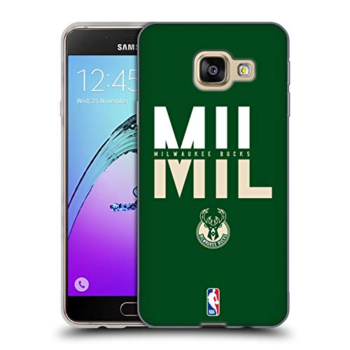 Head Case Designs Ufficiale NBA Tipografia 2019/20 Milwaukee Bucks Cover in Morbido Gel Compatibile con Samsung Galaxy A3 (2016)