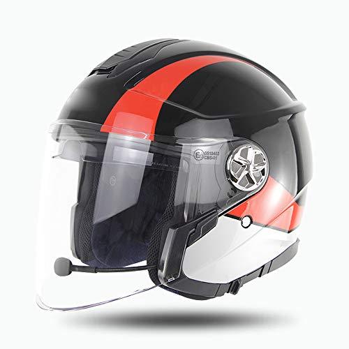 YDYL-LI Bluetooth Casco De La Moto, con Capacidad Bluetooth De La Motocicleta Horas Móvil Helmets8 De Tiempo De Conversación, hasta 110 Horas De Tiempo Espera Casco De Ciclista Unisex,Negro,XXL