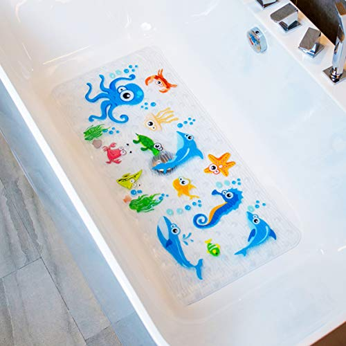 BeeHomee Bathtub Mat for Kids – 35″x16″ – Machine Washable