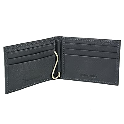 Alpine Swiss Mens Genuine Leather Spring Loaded Bifold Money Clip Wallet Gray