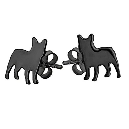 Sterling Silver Black French Bulldog Dog Earrings with IP Coating