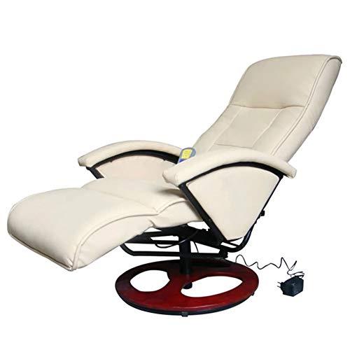 AYNEFY- Masajeador calentador para sillón, sillón masajeador blanco crema de piel sintética 66 x 92 x 106 cm (W x D x H)