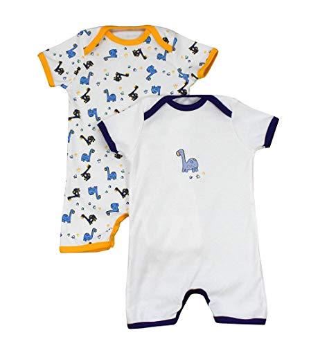 Pelele de bebé de 100% algodón para el verano para niños y niñas con motivos de impresión en un paquete doble. Dinosaurios Talla:80