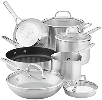 10-Piece KitchenAid 3-Ply Base Brushed Cookware Pots and Pans Set