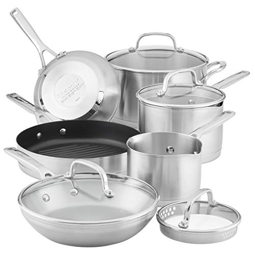 KitchenAid 3-Ply Base Brushed Stainless Steel Cookware Pots and Pans Set