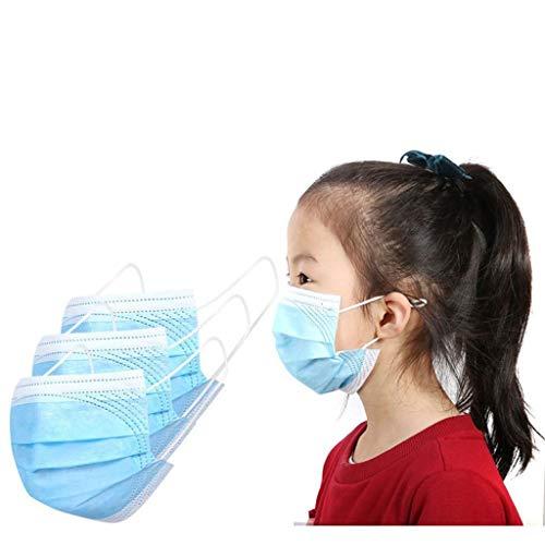 FIRSS Kinder Medizinischer Mundbedeckung Blau Atmungsaktive 3-Lagig Staubschutz sanitär Einweg Multifunktionstuch Mundschutz Mit Ohrring Staubschutz Mund Nasen Schutz Tuch Bandana (100pcs)